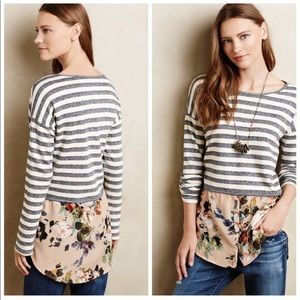 Anthropologie Postmark Striped Floral Tunic